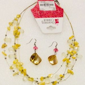 Charming Charlie Necklace Earrings Set Yellow
